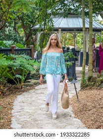 A model walks the runway during Delray Beach Fashion Week 2021 at the Sunday House in Delray Beach on February 24th, 2021