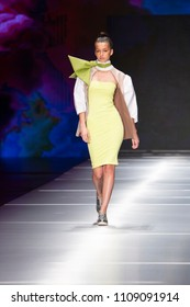 A model walks the runway during the Miami Fashion Institute Show Resort 2018 Collection in Miami Fashion Week 2017 at the Ice Palace in Miami on May 31th, 2018