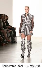 A model walks the runway during NYFW Spring Summer 2018 for Turkish Designer Hakan Akkaya at Skylight Studios Washington Square in New York on September 11th, 2017