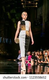 A Model walks the runway for Mashael Al-Mutawa spring summer 2018 fashion show during Art, Hearts & Fashion New York Fashion Week at the Angel Orensanz Center in New York, NY, on  September 7th, 2018