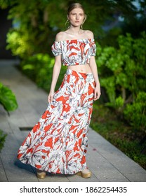 A model walks the runway for Mola Mola Swimwear Summer collection 2021 fashion show during Destination Colombia 2020 at the Miami Design District in Miami, FL on November, 14th 2020