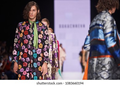 A model walks the runway on the Anastasia Dokuchaeva catwalk. Spring/Summer 2018. MERCEDES-BENZ FASHION WEEK RUSSIA. 22 October 2017, Moscow, Russia.