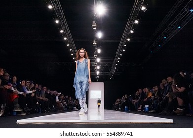 A model walks the runway on the ASYA SOLOVIEVA catwalk. Fall/Winter 2016-17. FASHION WEEK in MOSCOW. 25 March 2016, Moscow, Russia.