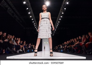 A model walks the runway on the DENIS SHEVCHENKO catwalk. Fall/Winter 2016-17. FASHION WEEK in MOSCOW. 26 March 2016, Moscow, Russia.