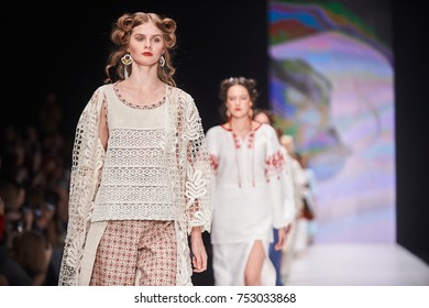 A model walks the runway on the FLAX AND LACE catwalk. Spring/Summer 2018. MERCEDES-BENZ FASHION WEEK RUSSIA. 21 October 2017, Moscow, Russia.