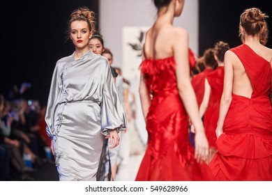 A model walks the runway on the GRACE CHEN catwalk. Fall/Winter 2016-17. FASHION WEEK in MOSCOW. 25 March 2016, Moscow, Russia.