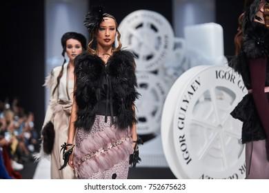 A model walks the runway on the IGOR GULYAEV catwalk. Spring/Summer 2018. MERCEDES-BENZ FASHION WEEK RUSSIA. 25 October 2017, Moscow, Russia.