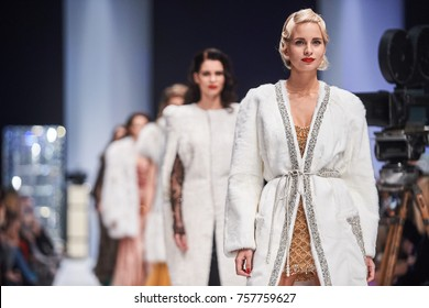 A model walks the runway on the JULIA DILUA catwalk. Spring/Summer 2018. MERCEDES-BENZ FASHION WEEK RUSSIA. 21 October 2017, Moscow, Russia.