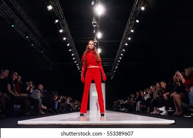 A model walks the runway on the PALOMO SPAIN catwalk. Fall/Winter 2016-17. FASHION WEEK in MOSCOW. 25 March 2016, Moscow, Russia.