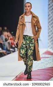 A model walks the runway on the SAINT-TOKYO catwalk. Spring/Summer 2018. MERCEDES-BENZ FASHION WEEK RUSSIA. 22 October 2017, Moscow, Russia.