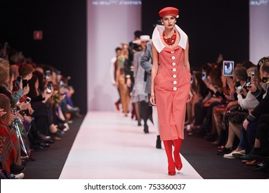 A model walks the runway on the SLAVA ZAITSEV catwalk. Spring/Summer 2018. MERCEDES-BENZ FASHION WEEK RUSSIA. 21 October 2017, Moscow, Russia.
