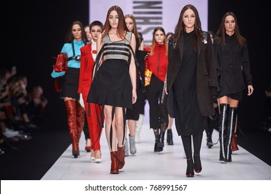 A model walks the runway on the TAMTA catwalk. Spring/Summer 2018. MERCEDES-BENZ FASHION WEEK RUSSIA. 22 October 2017, Moscow, Russia.
