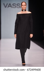 A model walks the runway on the VASSA&CO catwalk. Spring/Summer 2017. MERCEDES-BENZ FASHION WEEK RUSSIA. 13 October 2016, Moscow, Russia.