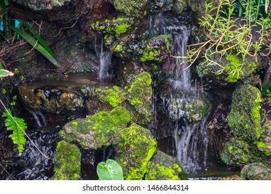 Model waterfall in the garden