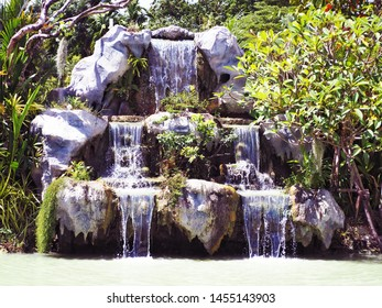Model waterfall in the park