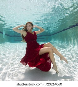 A model wearing different wardrobe above and below surface of water in a pool.