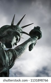 Model of a weathered Statue of Liberty
