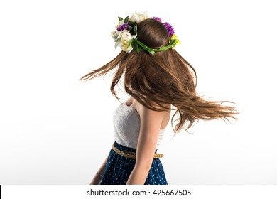 Model woman with crown of flowers