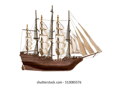 Model of the wooden antique schooner isolated on white background