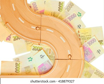 Model of wooden road on czech money. Isolated on white background.