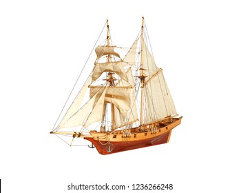 Model of a wooden sailing ship  isolated on white background