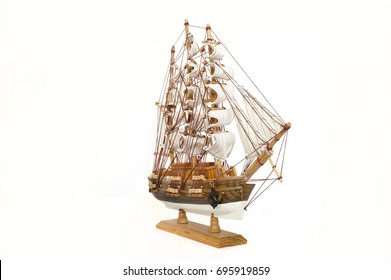 Model of the wooden ship isolated on white background