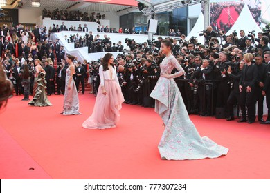 Models attend the 70th Anniversary of the 70th annual Cannes Film Festival at Palais des Festivals on May 23, 2017 in Cannes, France.