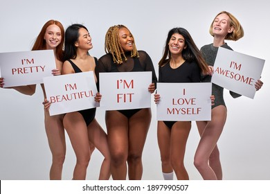 models are confident in their beauty, enjoying their body size and type, women in bodysuits have no complexes about their appearance, do not find fault with himself