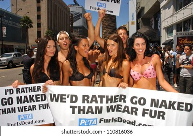 "Models with the Janice Dickinson Modeling Agency showing their support for the PETA ""I'd Rather Go Naked Than Wear Fur"" Campaign. Hollywood and Highland, Hollywood, CA. 08-20-07"
