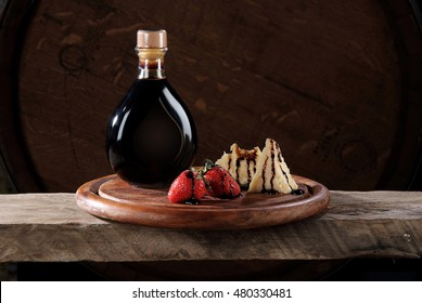 Modena balsamic vinegar with strawberries and Parmesan