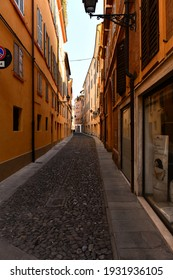 Modena, Emilia Romagna, Italy - 03.07.2021: alleys in the historic center of Modena