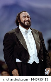"""Modena  Italy, 01 June 1999, Charity event """"Pavarotti & Friends 99"""" in concert for Guatemala at Novi Sad Park : the tenor Luciano Pavarotti during the concert"""