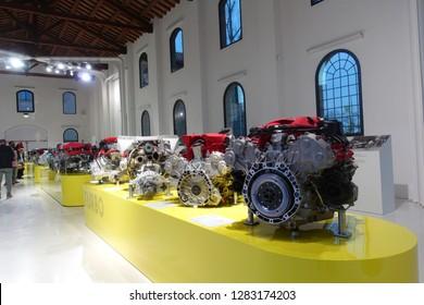 Modena / Italy - 01/13/2019: Ferrari racing car engines exhibited at the Ferrari Museum in Modena