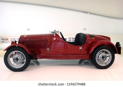 Modena / Italy - 04/27/2014 : Vintage Ferrari cars exhibited at the Ferrari Museum in Modena