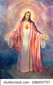MODENA, ITALY - APRIL 14, 2018: The painting of Heart of Jesus Christ in church Chiesa di San Bartolomeo from 20. cent.