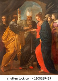 MODENA, ITALY - APRIL 14, 2018: The painting of Wedding of Virgin Mary and St. Joseph in church Chiesa di San Bartolomeo from 17. cent.