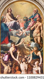 MODENA, ITALY - APRIL 14, 2018: The painting of the holy Trinity, Virgin Mary, St. Sebastinan and the souls in purgatory in church Chiesa di Santa Maria della Pomposa by Giovanni Boulanger (1659).