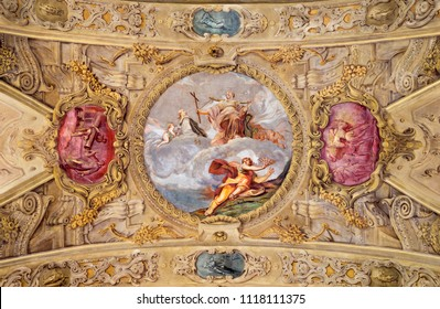 MODENA, ITALY - APRIL 14, 2018: The baroque ceiling fresco with St. Barbara in church Chiesa di San Barnaba by Sigismondo Caula and Antonio Mannini from begin of 18. cent.