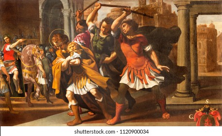 MODENA, ITALY - APRIL 14, 2018: The painting from live and martyrdom of St. Sebastian in church Chiesa di Santa Maria della Pomposa by Bernardino Cervi from 17. cent.