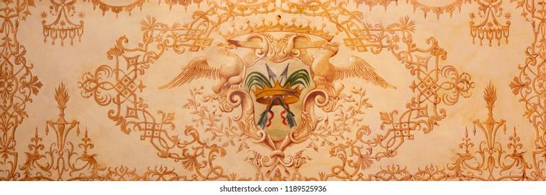 MODENA, ITALY - APRIL 14, 2018: The baroque painting on the wood (altar) with the martyrdom of St. Sebastian symbols in church Chiesa di Santa Maria della Pomposa.