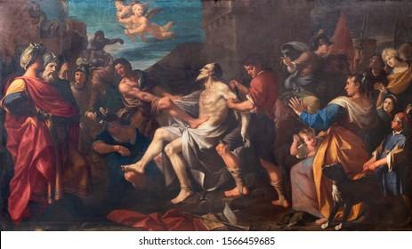 MODENA, ITALY - APRIL 14, 2018: The painting of Martyrdom of St. Bartholomew the Apostle in church Chiesa di San Bartolomeo by Girolamo Negri (1694).