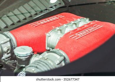 MODENA, ITALY - APRIL 2015: Museum Enzo Ferrari Modena. White Ferrari 458 Italia 2009. Motor.