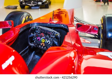 MODENA, ITALY - APRIL 2015: Museum  Enzo Ferrari Modena. Red Ferrari F60 2009.View of car cabin.