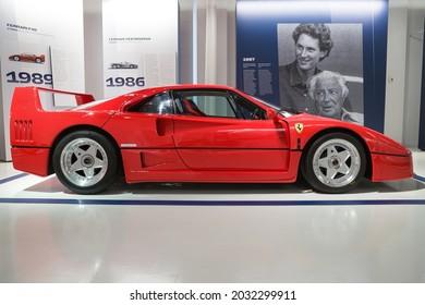 Modena, Italy - August 14, 2021: Side view of a Ferrari F40 showcased at Enzo Ferrari Museum, Modena, Italy.