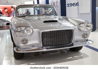 Modena, Italy - August 14, 2021: Ferrari 400 Superamerica showcased at Enzo Ferrari Museum, Modena, Italy.