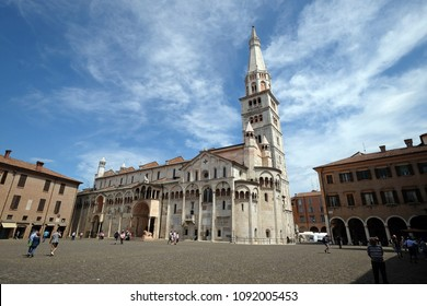 MODENA, ITALY - JUNE 04: Modena Cathedral dedicated to the Assumption of the Virgin Mary and Saint Geminianus, Italy on June 04, 2017.