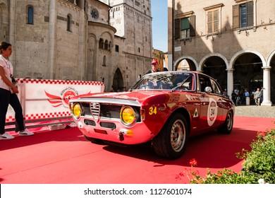 MODENA, ITALY - June, 2018. An Alfa Romeo Giulia Sprint GTA of 1965 in Piazza Grande at the end of the race Modena 100 ore Classic
