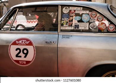 MODENA, ITALY - June, 2018. Left side view of Alfa Romeo Giulia Sprint GTA of 1965