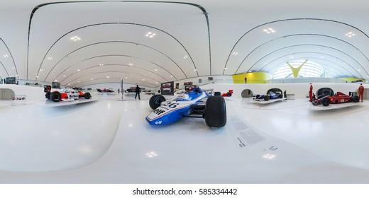 Modena, Italy - May 2013:  Full 360 degree equidistant equirectangular spherical panorama of Ferrari Museum. VR content