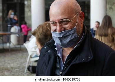 MODENA - ITALY, October 18, 2020 - Stefano Bonaccini, Emilia Romagna regional President, public speech in a premiation event in Piazza Grande (big square)